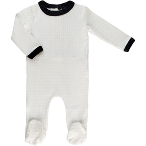 Cuddle & Coo Black Trim Textured Footie - WHITE