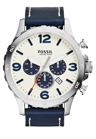 FOSSIL Nate Chronograph Navy Leather- JR1480