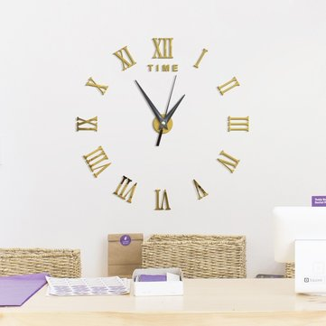 Frameless Large 3D Wall Clock, Roman Numerals, Coffee Brown