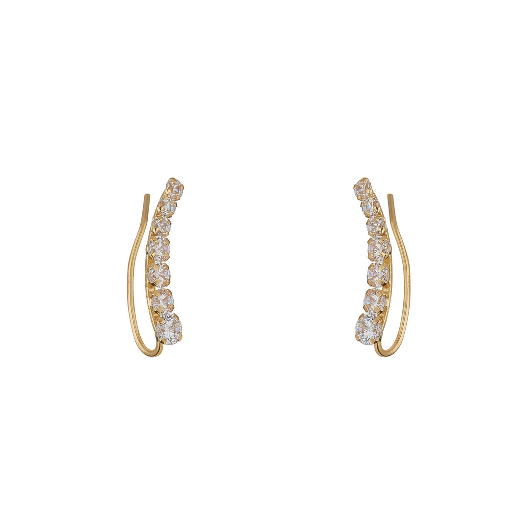 9ct Yellow Gold Cubic Set Climber Earrings