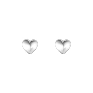 Sterling Silver Solid Heart Stud Earrings