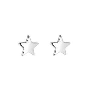 Sterling Silver Solid Star Stud Earrings