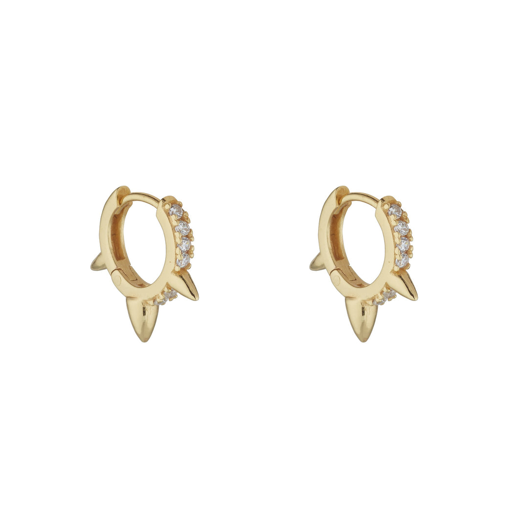 18ct Gold Plated Sterling Silver Triple Spike Cubic Huggie Earrings