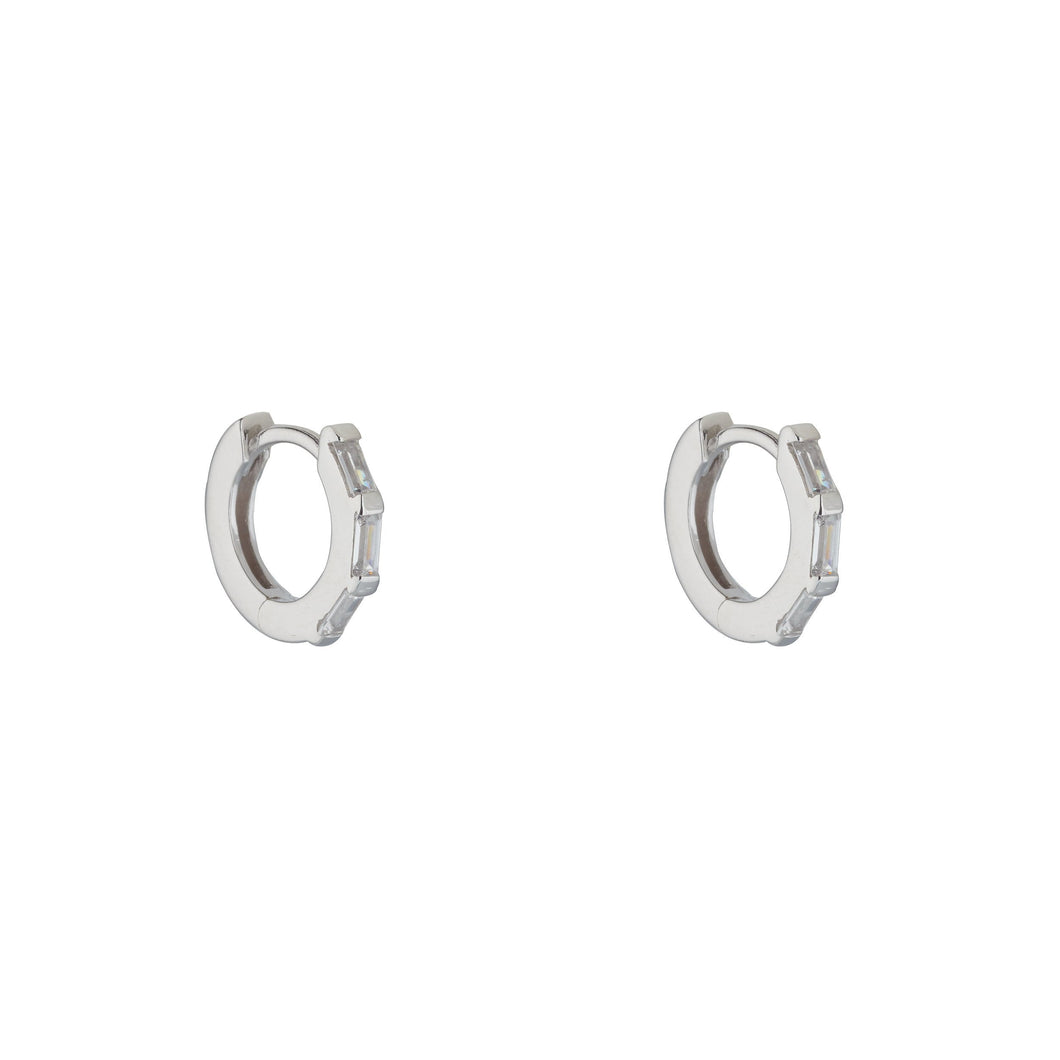 Sterling Silver Cubic Baguette Huggie Earrings
