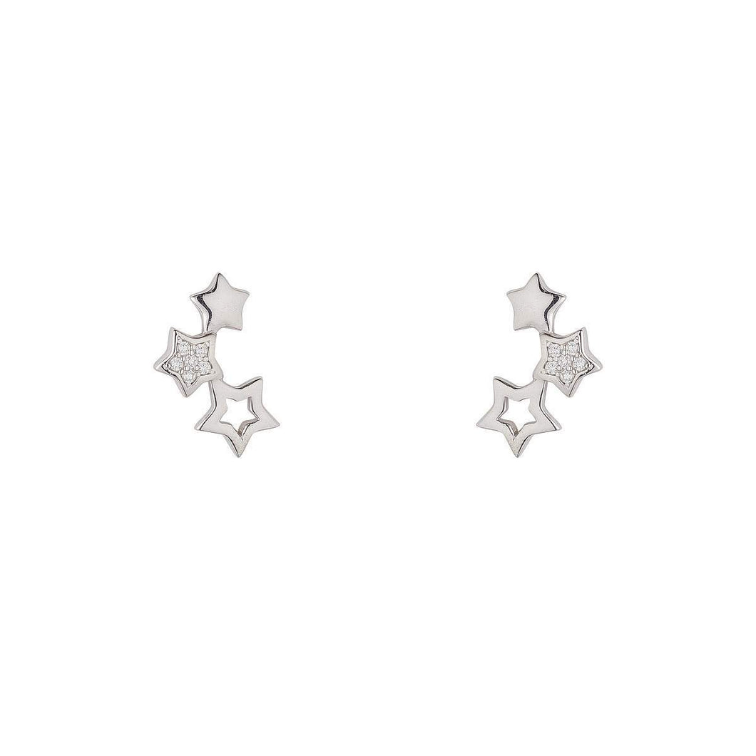 Sterling Silver Triple Star Ear Climber Earrings