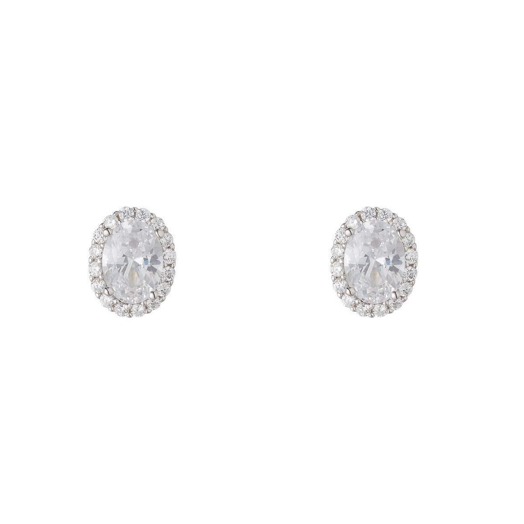 Sterling Silver Oval Cubic Cluster Stud Earrings