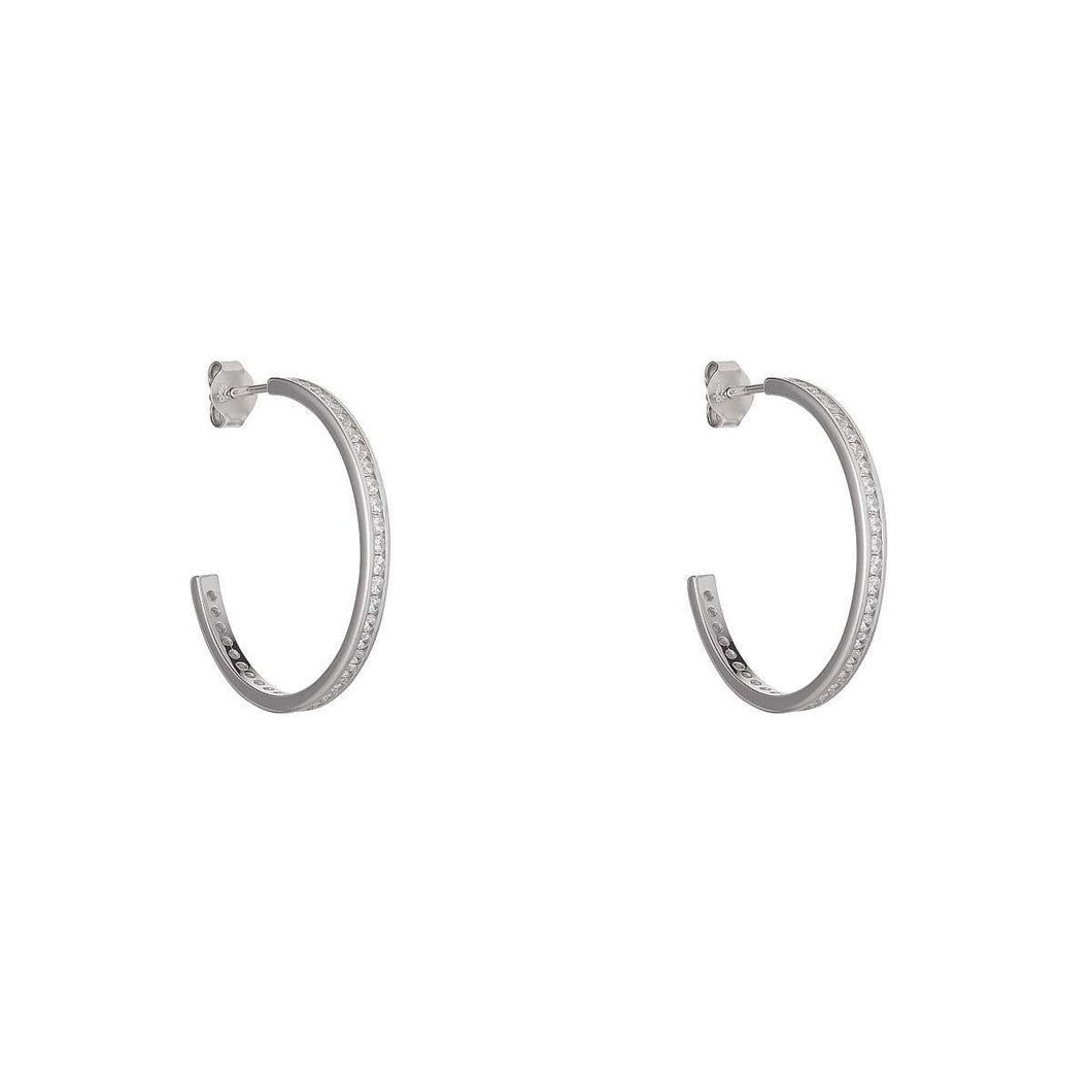 Sterling Silver Channel Set 25mm Hoop Earrings