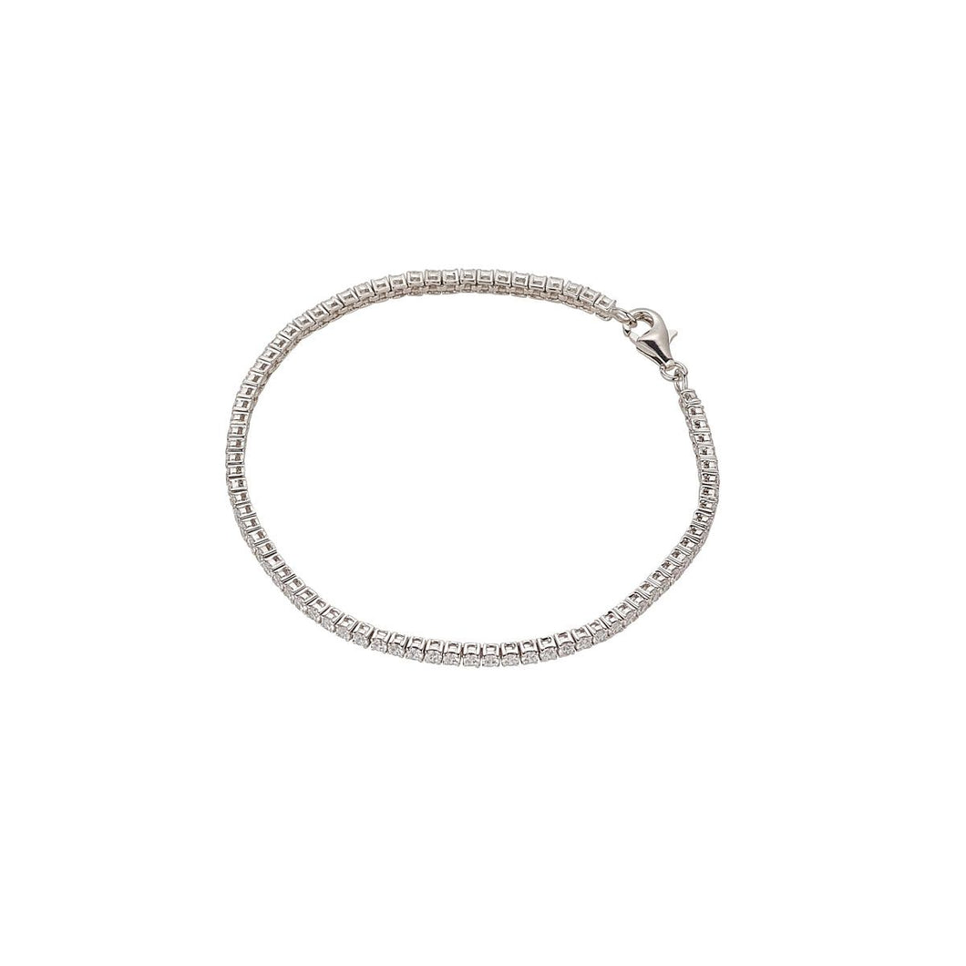 Sterling Silver 2mm Cubic Zirconia Claw Set Bracelet