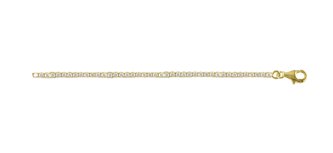 Sterling Silver 18ct Yellow Gold Plated Claw Set Tennis Bracelet