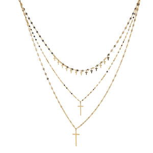 18ct Gold Plated Sterling Silver Layered Cross Necklace