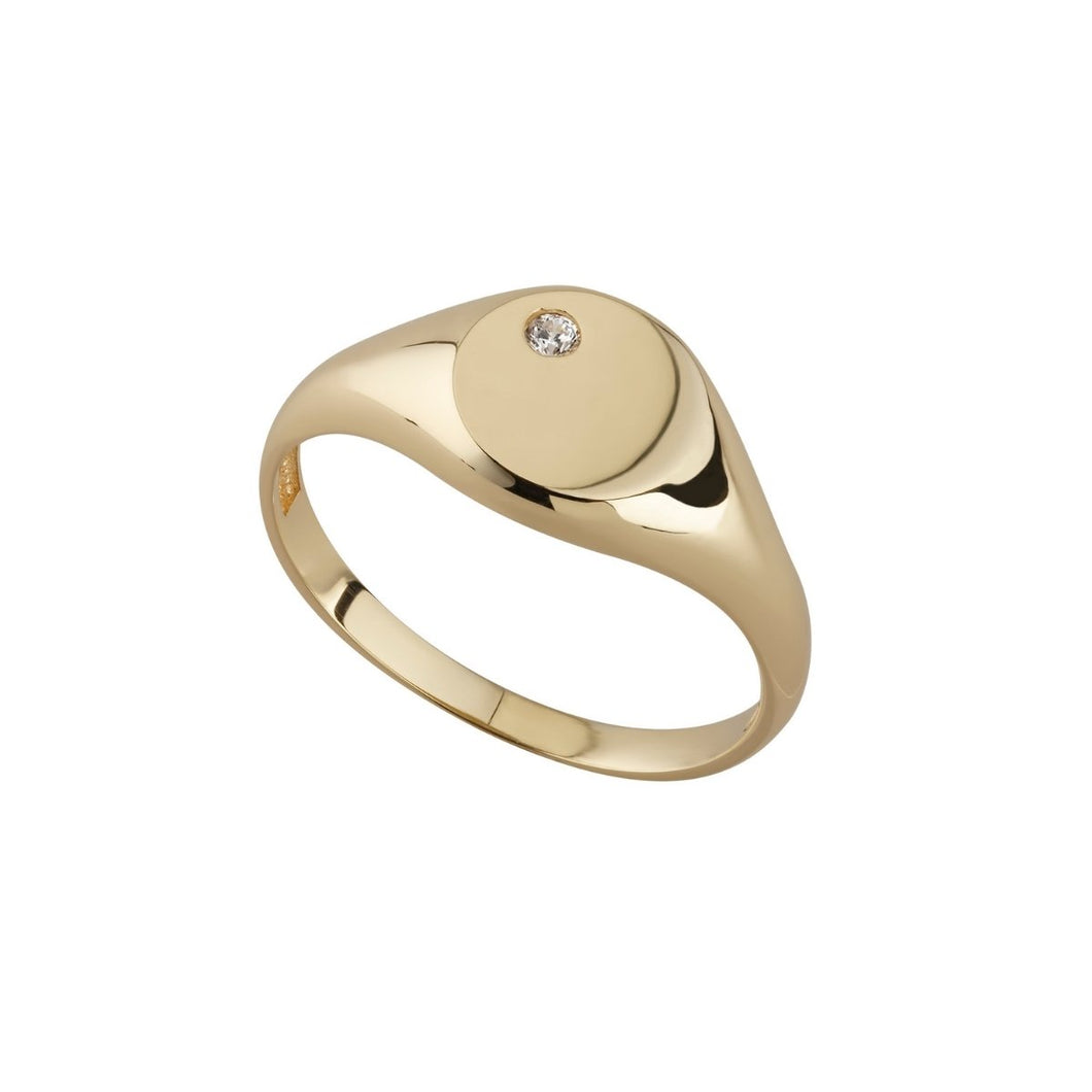 9ct Yellow Gold Round Cubic Zirconia Set Signet Ring