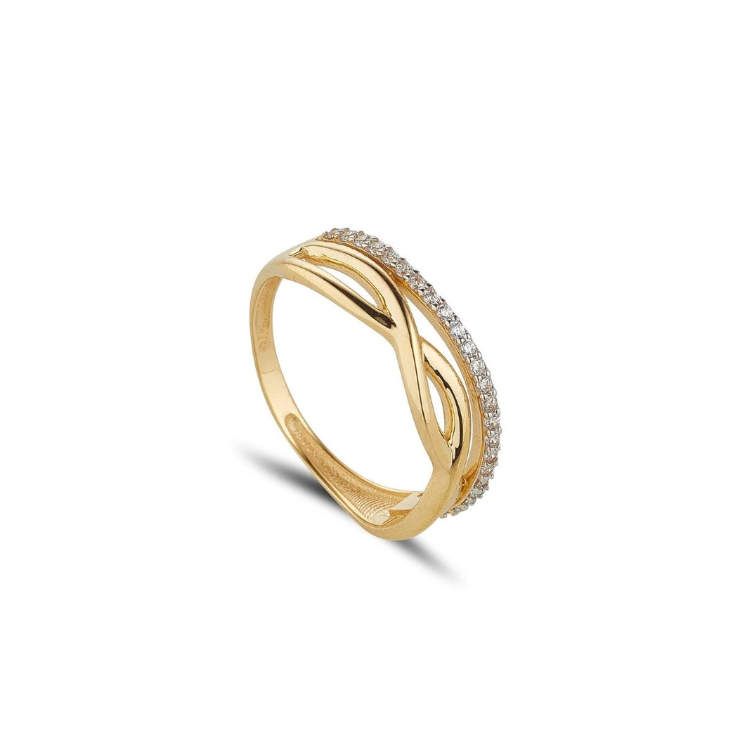 9ct Yellow Gold Infinity & Cubic Lined Band