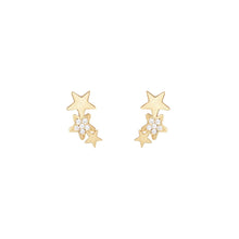 Load image into Gallery viewer, 9ct Yellow Gold 3 Star Cubic Zirconia Ear Climber Stud Earring