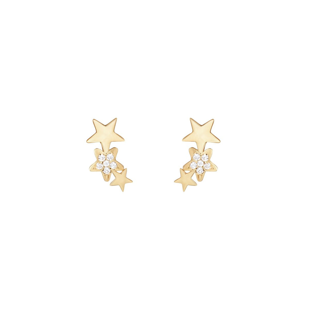 9ct Yellow Gold 3 Star Cubic Zirconia Ear Climber Stud Earring