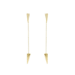 9ct Yellow Gold Arrow Chain Drop Earring