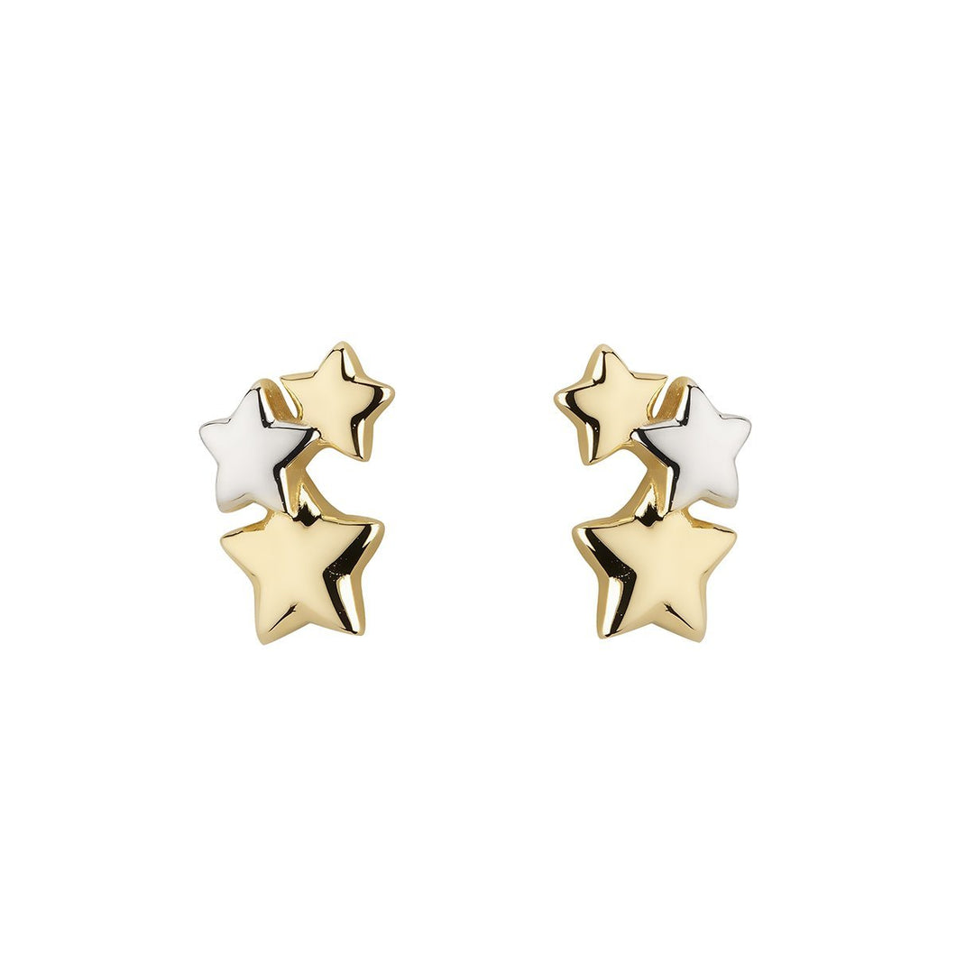 9ct Yellow & White Gold 3 Star Cluster Ear Climber Stud