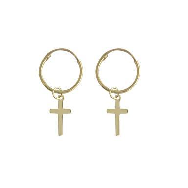 9ct Yellow Gold Hoop with Cross Drop Earring
