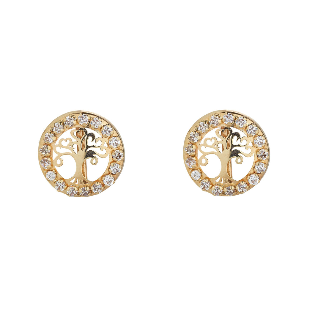 9ct Yellow Gold Tree of Life Set in a Cubic Circle Stud Earring