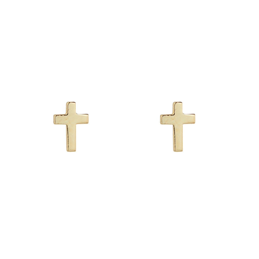 9ct Yellow Gold Cross Stud Earring