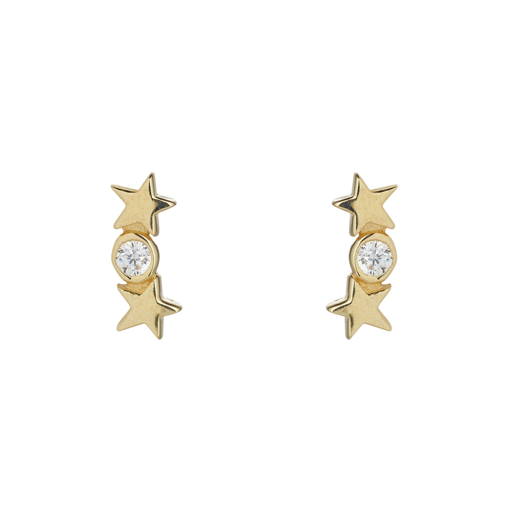 9ct Yellow Gold Star and Cubic Bar Stud Earring