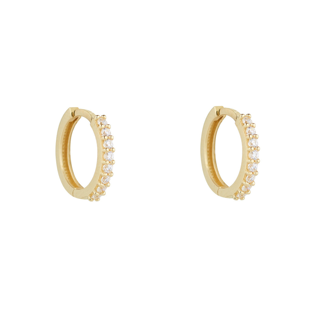 9ct Yellow Gold Cubic Claw Set Huggie Earring