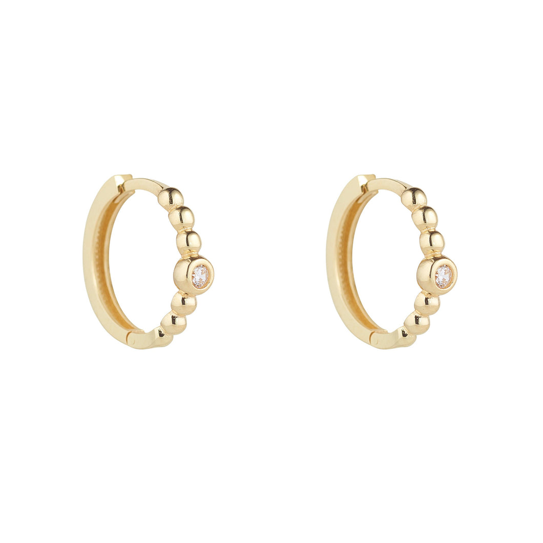 9ct Yellow Gold Ball Set Huggie Earring