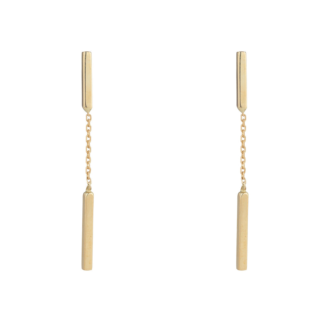 9ct Yellow Gold Double Bar Chain Drop Earring