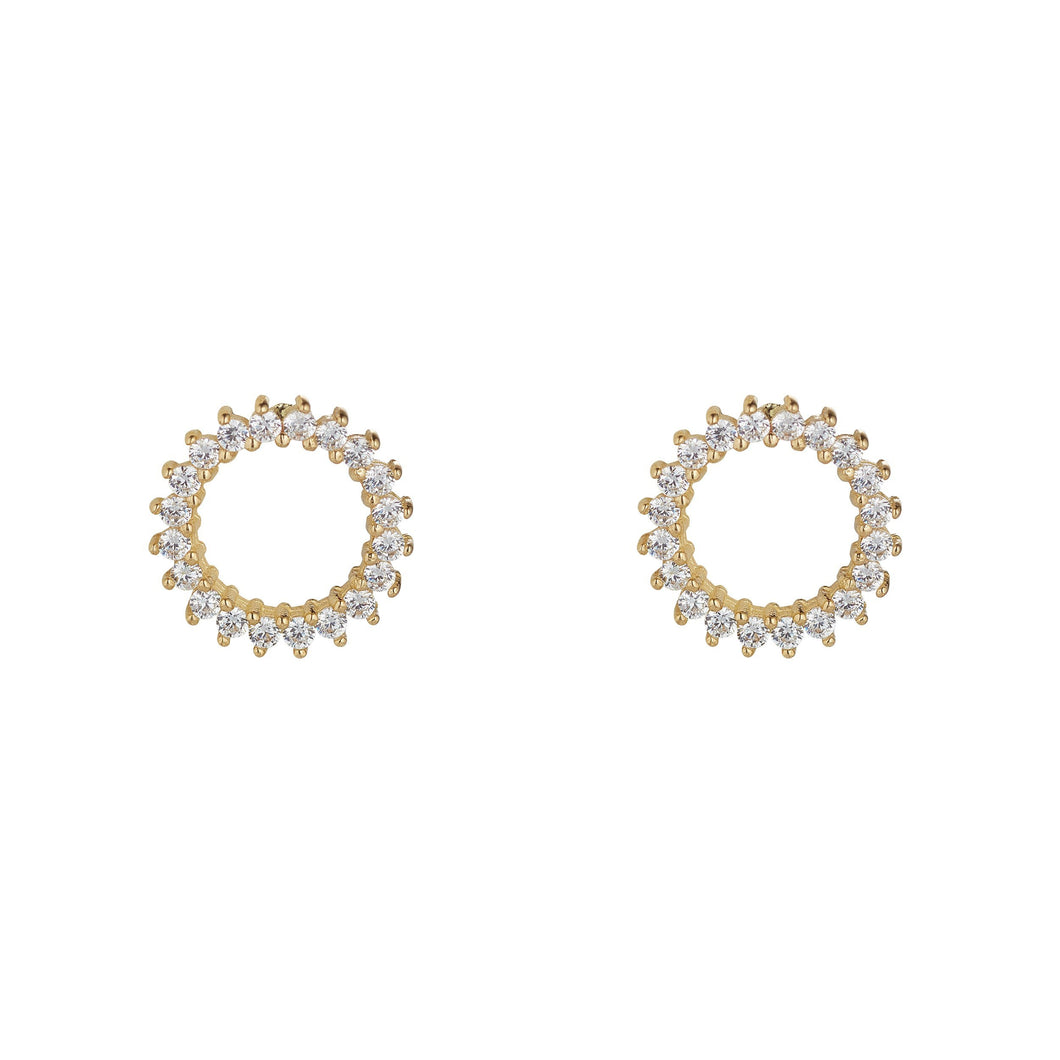 9ct Yellow Gold Cubic Zirconia Set Open Circle Stud Earring