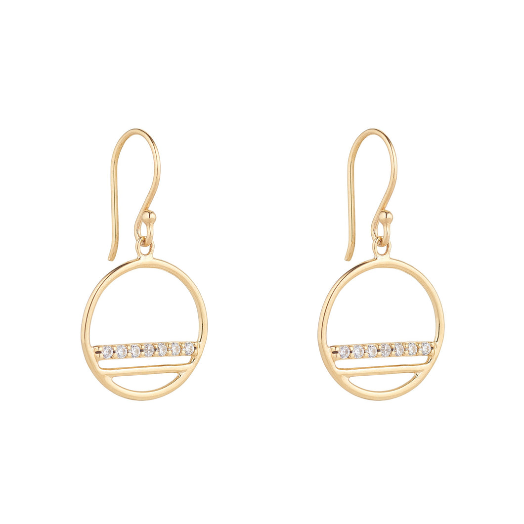 9ct Yellow Gold Open Circle Drop Earring with a Cubic Zirconia Set Line