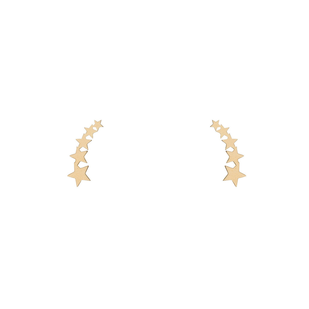 9ct Yellow Gold Shooting Star Climber Earrings