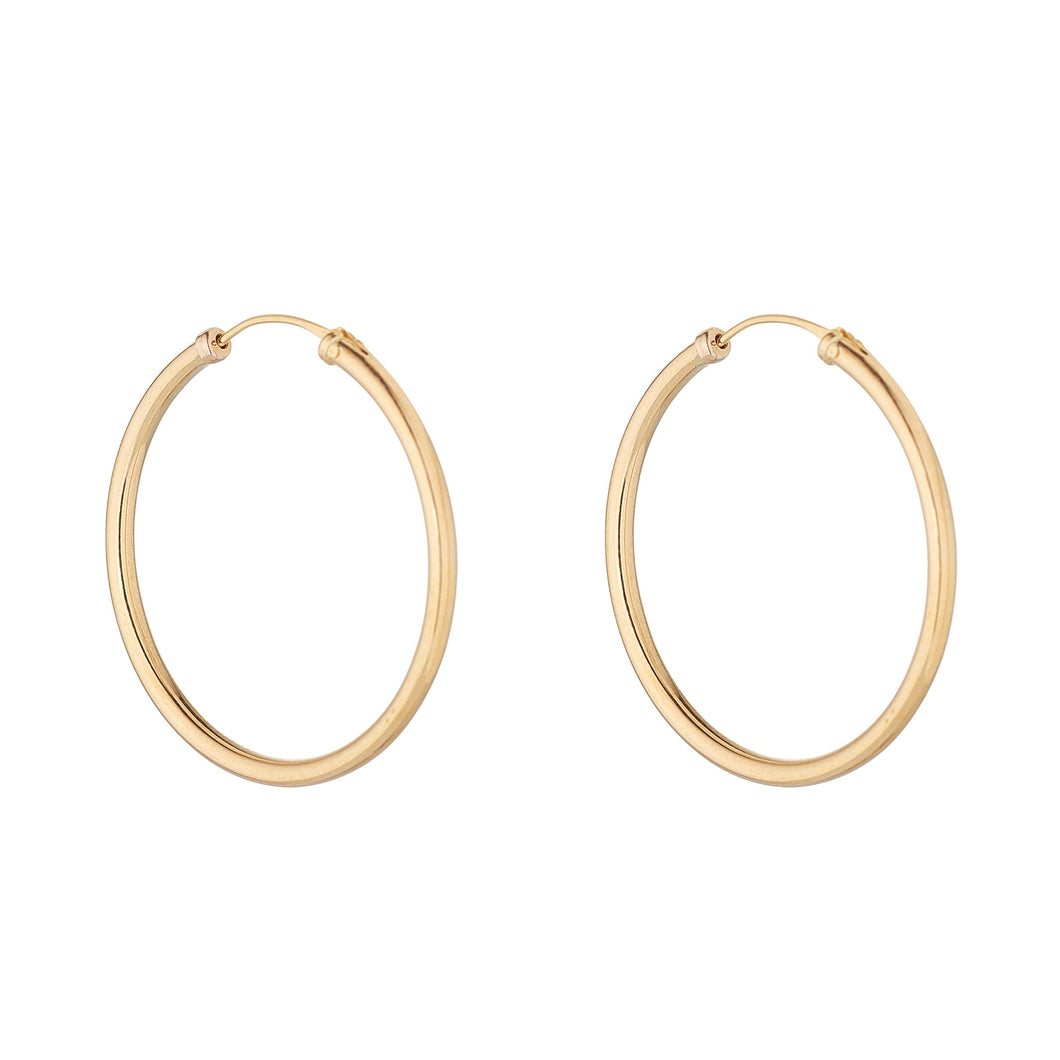 9ct Yellow Gold 30mm Sleeper Hoop Earring