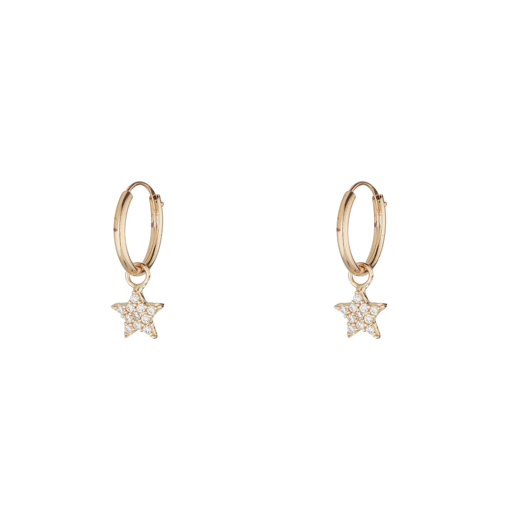 9ct Yellow Gold Hoop Earring with a Cubic Encrusted Star Drop