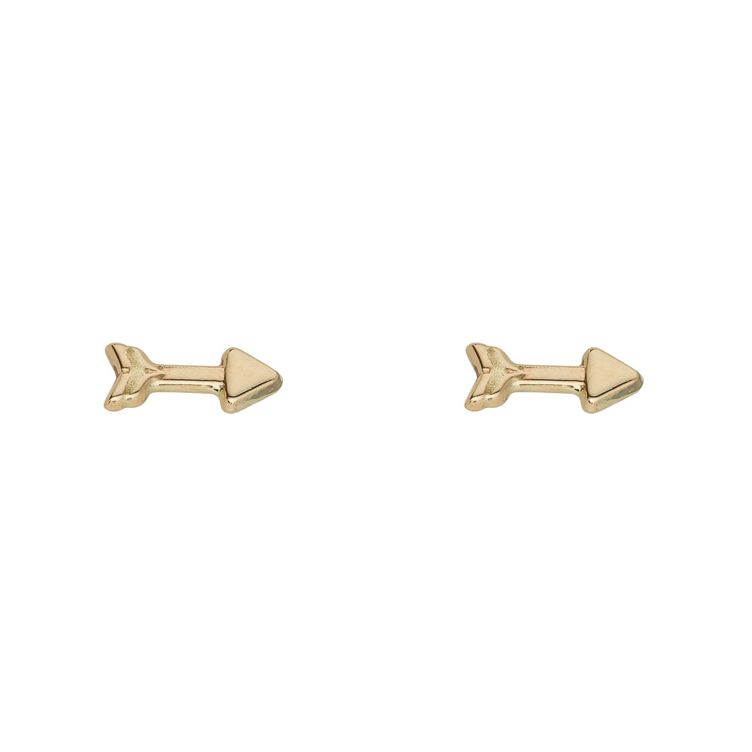 9ct Yellow Gold Arrow Stud Earring