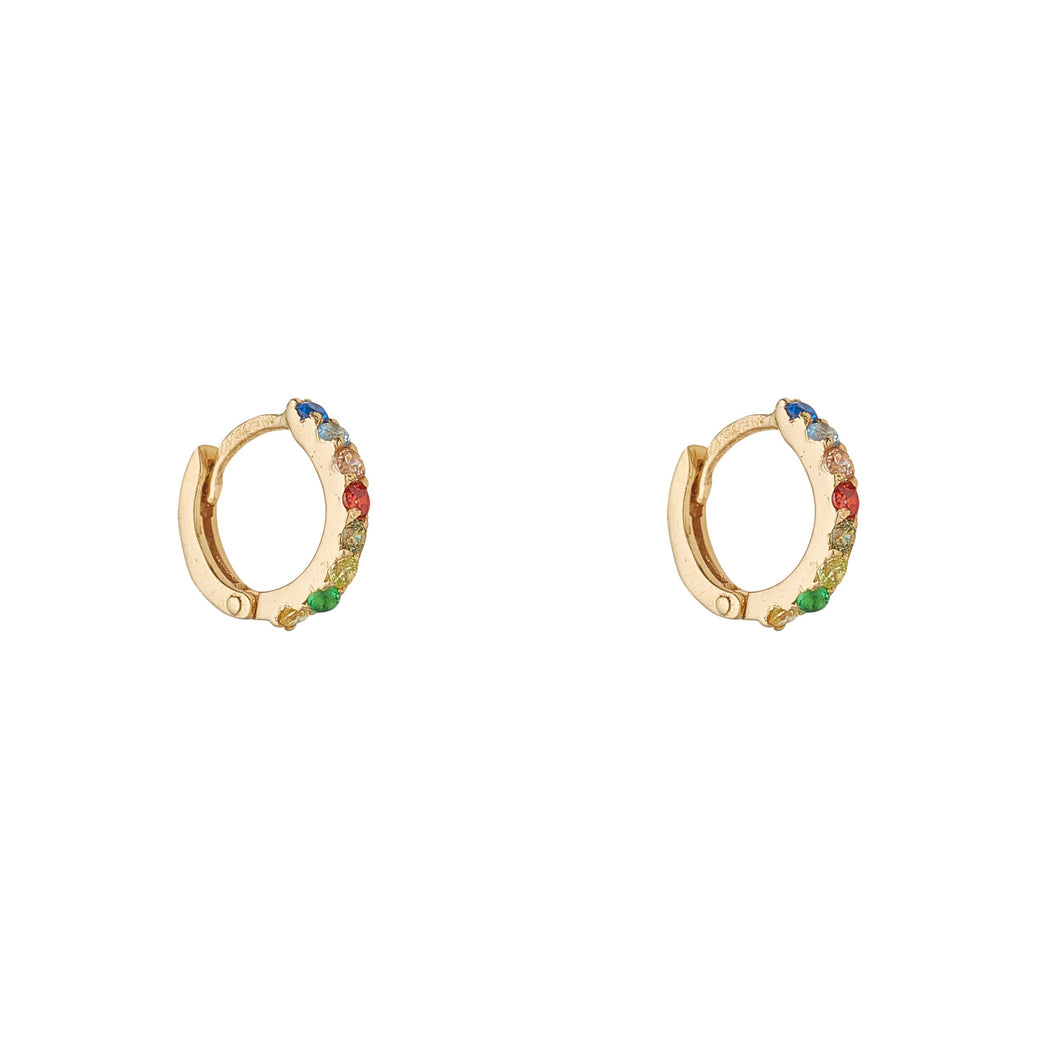 9ct Yellow Gold Multi Coloured Cubic Huggie Earrings