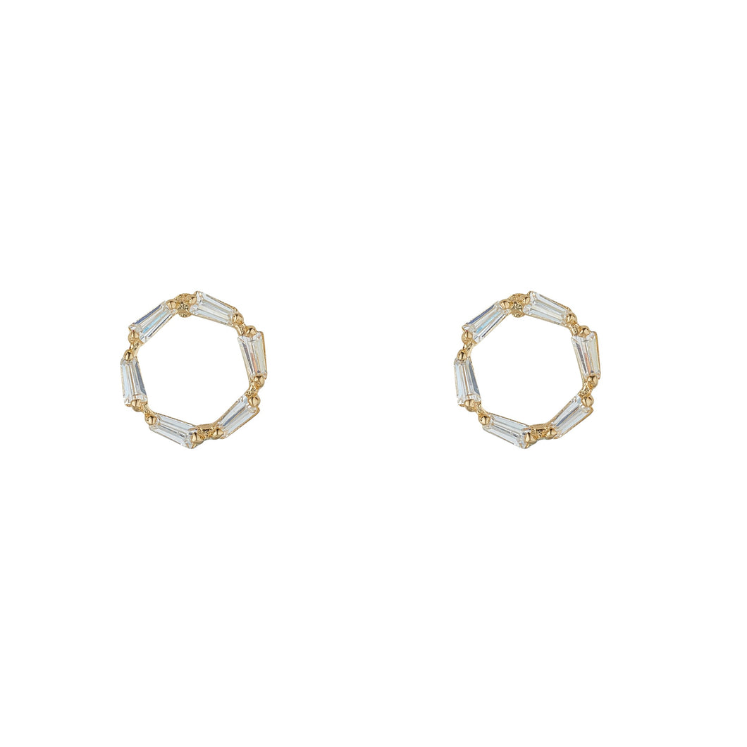 9ct Yellow Gold Baguette Set Open Circle Stud Earring