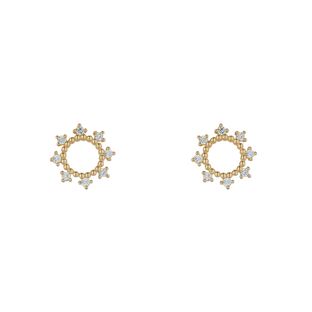 9ct Yellow Gold Art Deco Cubic Set Circle Stud Earring
