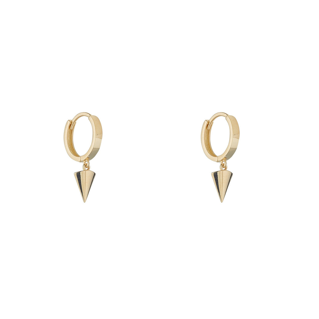 9ct Yellow Gold Huggie Earring with a Triangle Drop