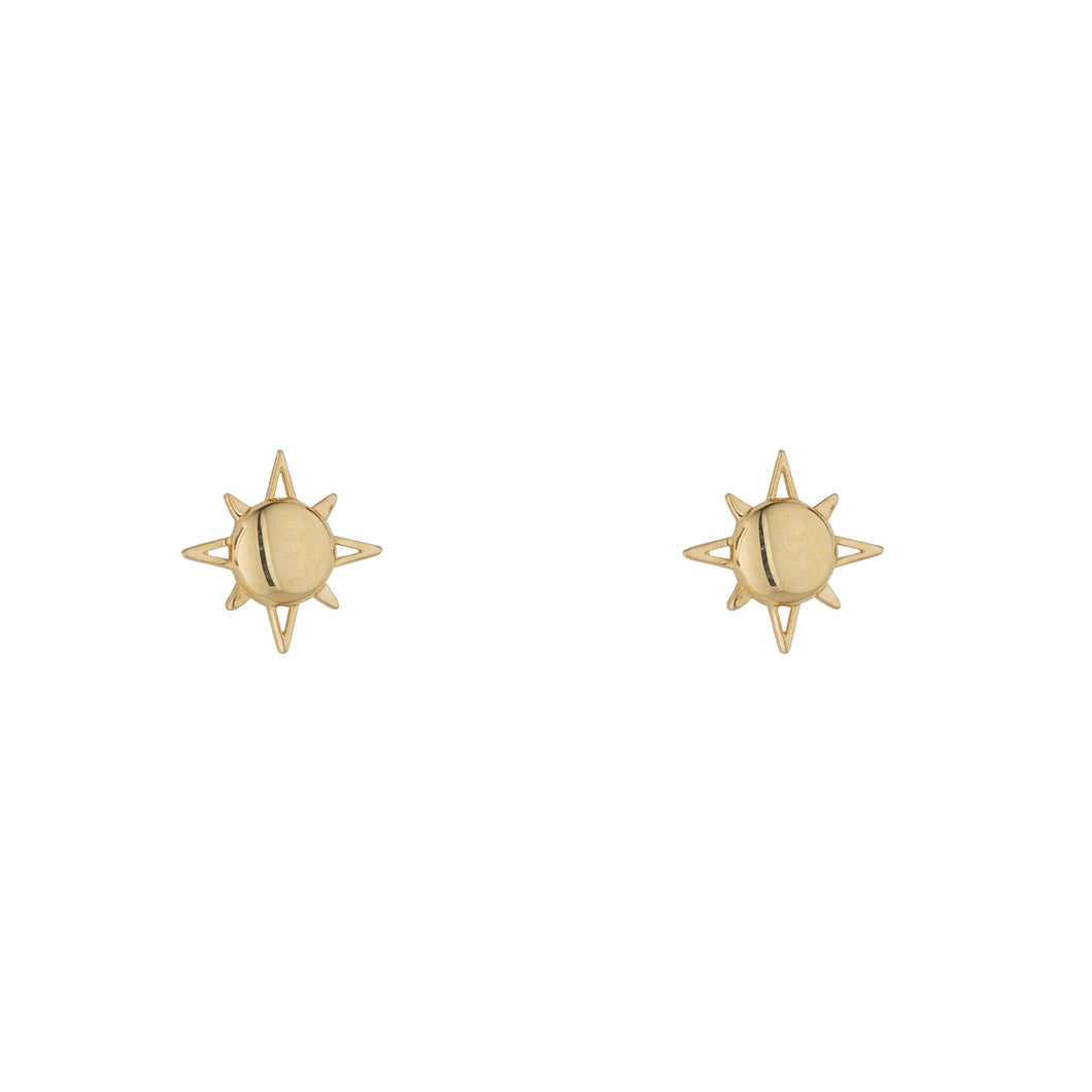 9ct Yellow Gold Sun Stud Earring