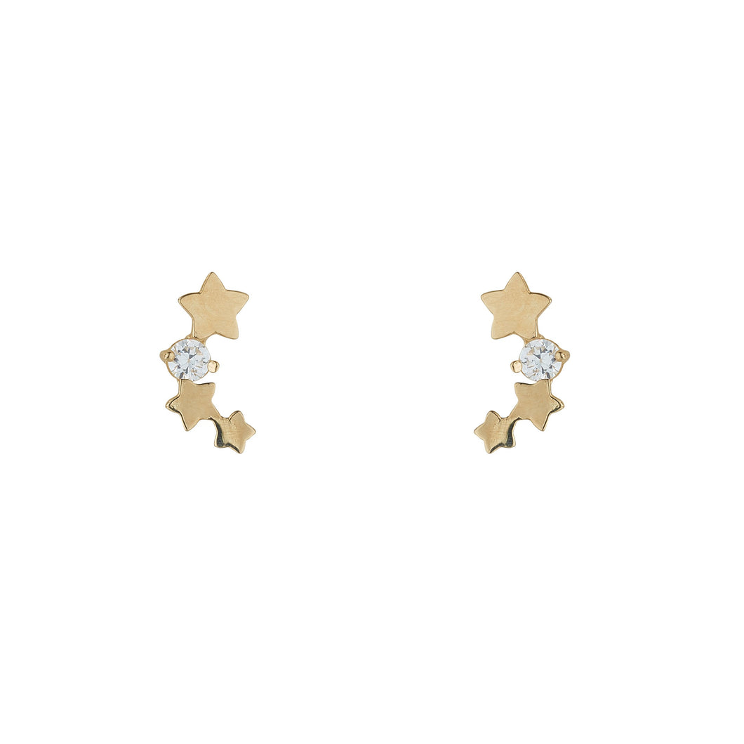 9ct Yellow Gold Trilogy Star Climber Earring