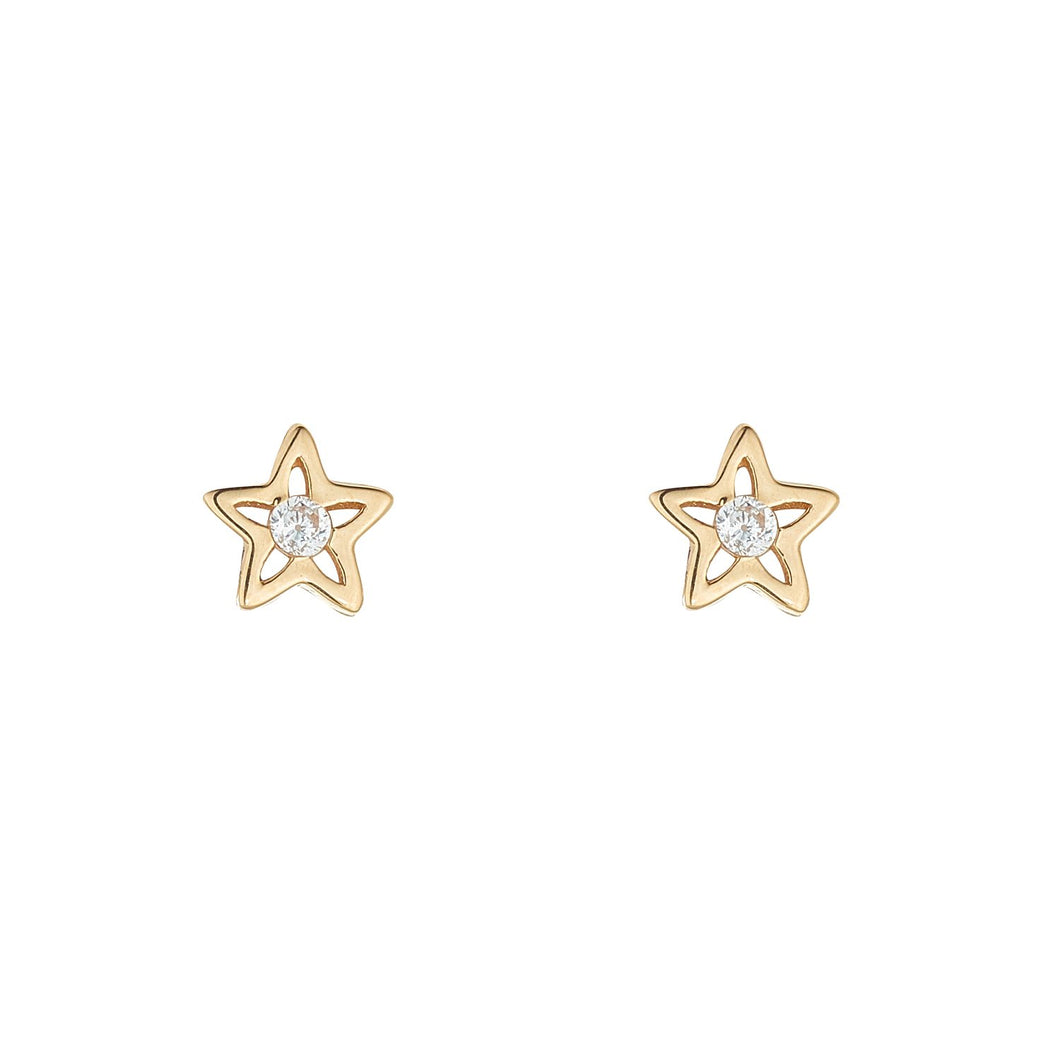 9ct Yellow Gold Cubic Set Star Stud Earring