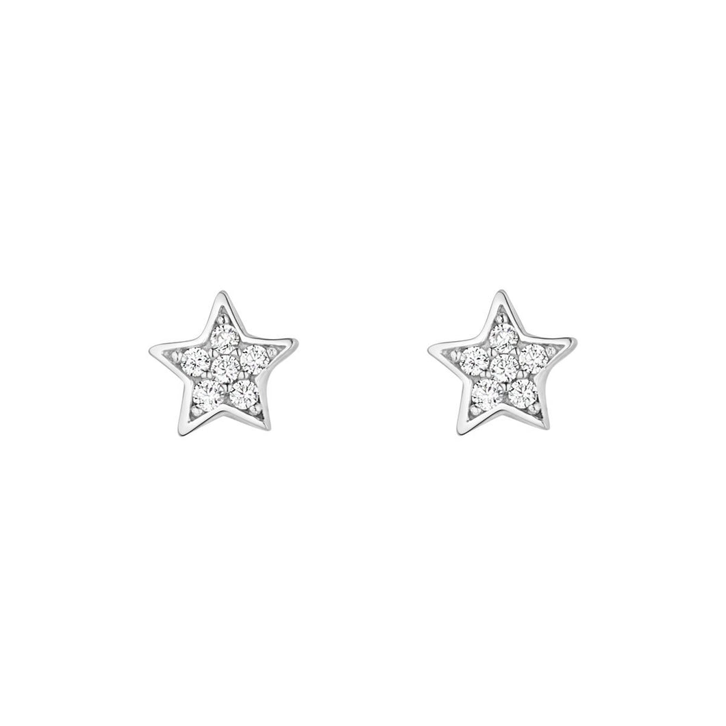 9ct White Gold Cubic Zirconia Star Stud Earring