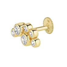 Load image into Gallery viewer, 9ct Yellow Gold Rubover Cluster Piercing