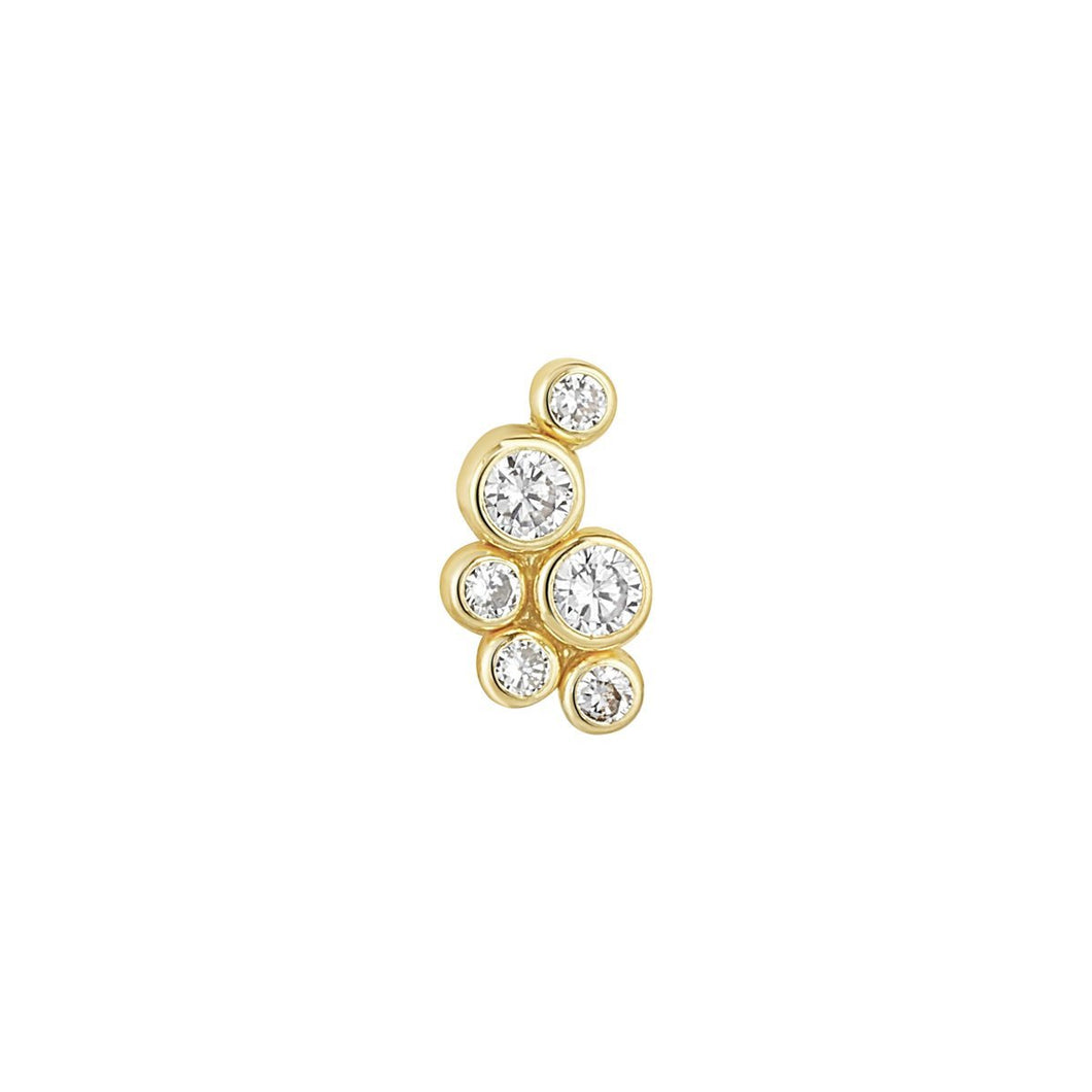 9ct Yellow Gold Rubover Cluster Piercing