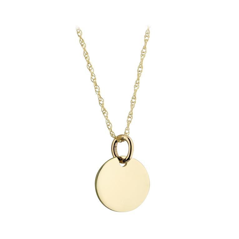 9ct Yellow Gold Solid 15mm Engravable Disk Pendant
