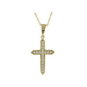9ct Yellow Gold Channel Set Cross Pendant