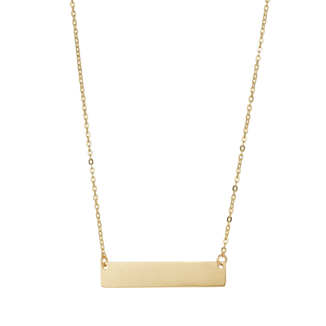 9ct Yellow Gold Solid Bar Engravable Pendant
