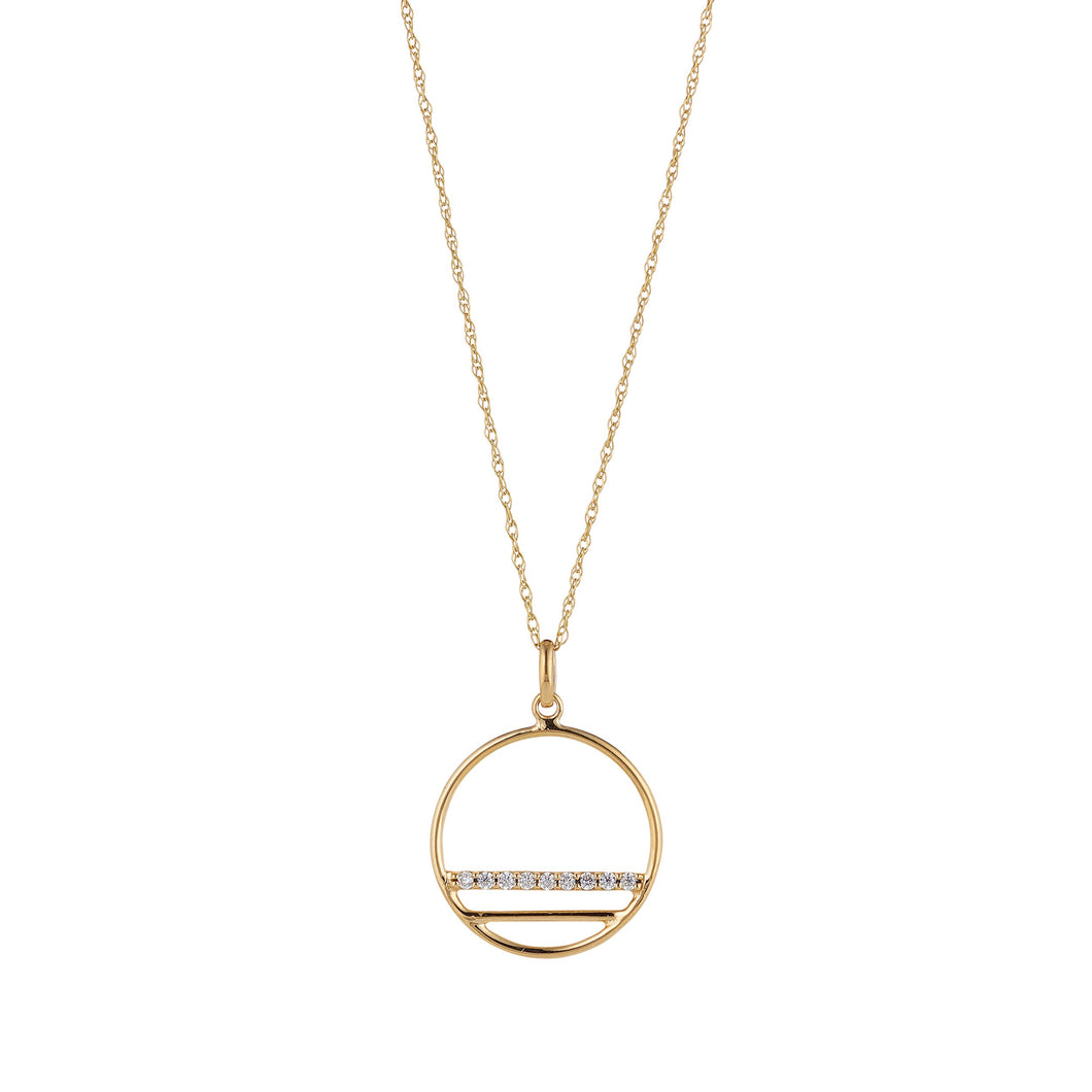 9ct Yellow Gold Open Circle Pendant with a Cubic Zirconia Set Line