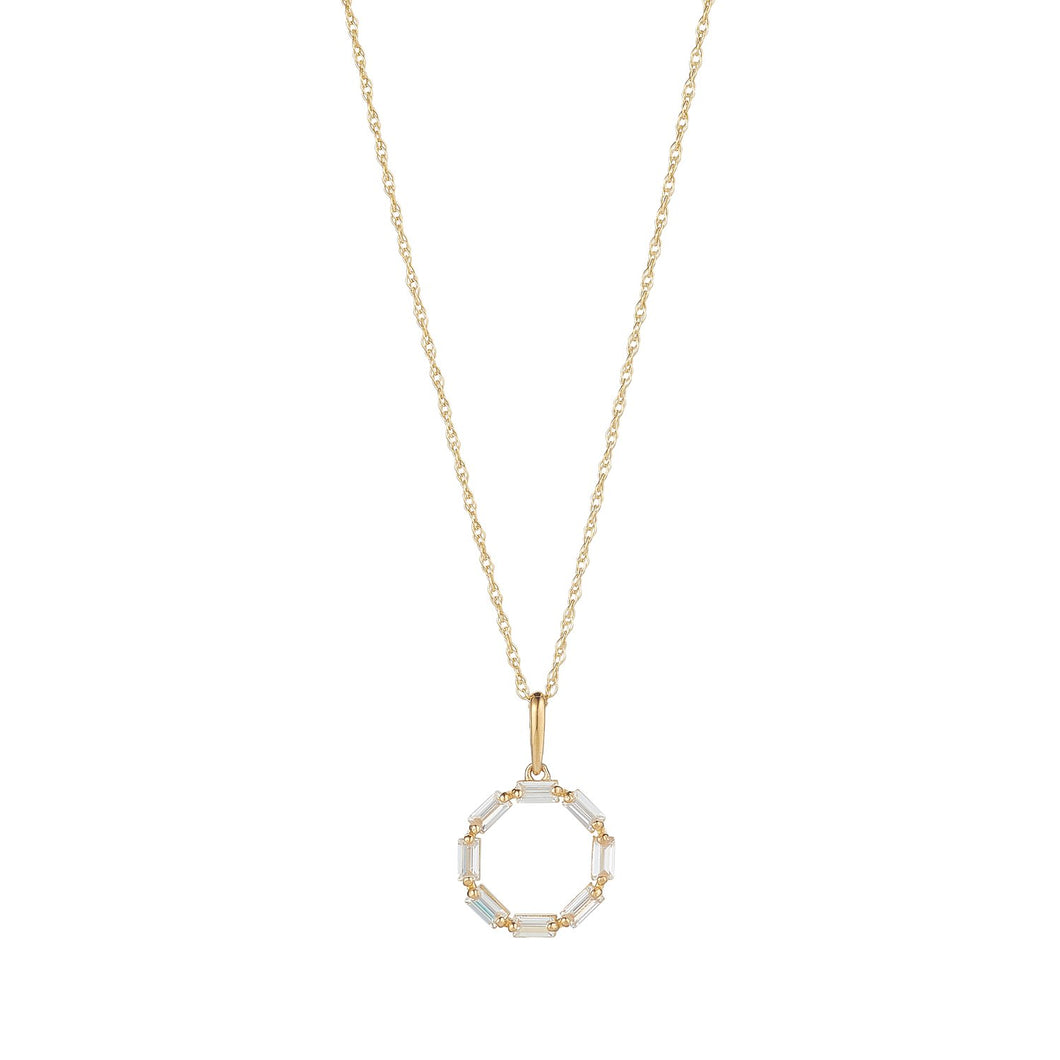 9ct Yellow Gold Baguette Set Open Circle  Pendant