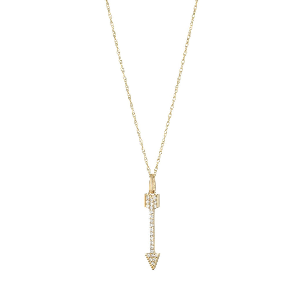 9ct Yellow Gold Cubic Arrow Pendant