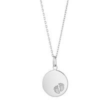 Load image into Gallery viewer, Sterling Silver Baby Footprint Solid Disk Pendant